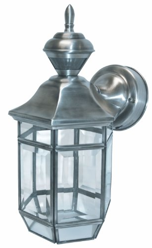 Heath/Zenith SL-4175-SA-A 150-Degree Motion-Activated Lexington Style Decorative Lantern, Antique Silver (Lantern Antique Silver)