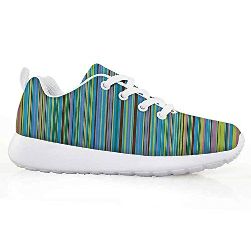 Price comparison product image Abstract Children Running Shoes Vertical Retro Style Thin Stripes Colorful Bands in Contrast Tones Line A