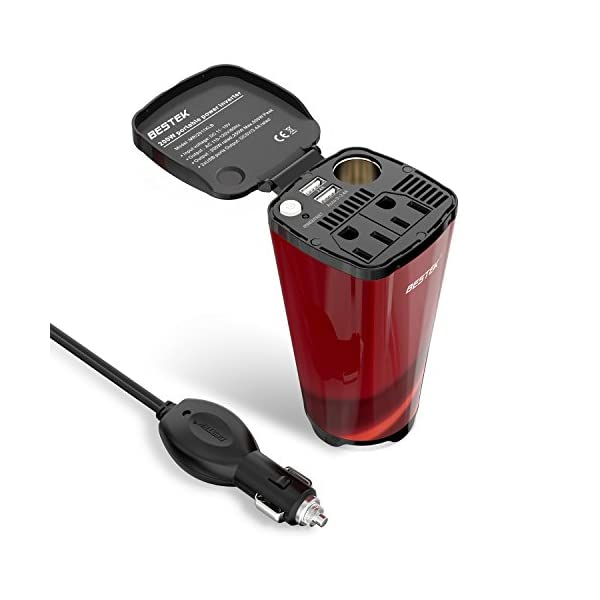 BESTEK Power Inverter Cup 12V DC To 110V AC With USB Ports, Cigarette Lighter Socket, And 2 AC Outlets