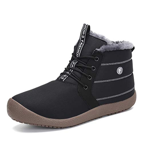 Dannto Snow Boots High Top Waterproof Outdoor Fur Lined Winter Warm Shoes Ankle Booties for Men ()