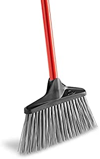 """product image for Libman Commercial 1086 Stiff Sweep Lobby Broom, Steel Handle, 38"""" Tall x 10"""" Wide, Red Handle (Pack of 6)"""