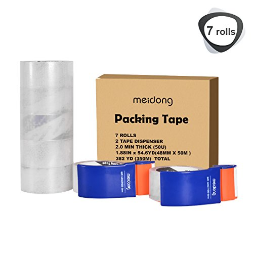 Packing Tape, Meidong Duct Tape with Dispenser Clear Strong Heavy Industrial for Packaging Shopping Box Moving(1.88 Inches x 54.6 Yards/50m,7 Rolls 2 Dispenser)