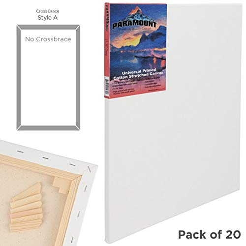 Paramount 3/4 Inch Prestretched Double Primed Artist Canvas 100% Cotton Bulk Value Pack [Qty 20] - - Paramount Canvas