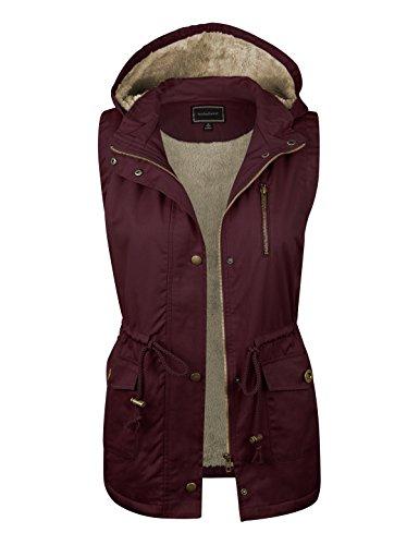 82c10a32879 makeitmint Women s Soft Faux Fur Lined Anorak Utility Hooded Jacket Vest   S-3XL