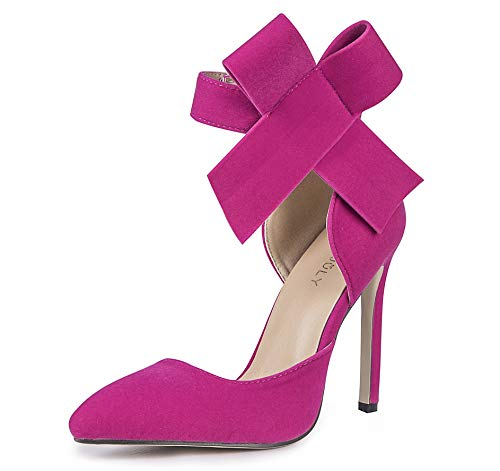 - MMJULY Women's Pointy Toe High Heel Stiletto Big Bow Pumps (US 8, Fuchsia)