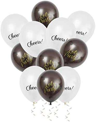 Colcolo 12カウントパーティーをテーマにしたラテックス風船の誕生日パーティーの結婚式の装飾 - 白+黒