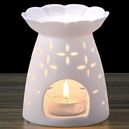 NJCharms Ceramic Tealight Holder Essential Oil Burner Aromatherapy Wax Candle Tart Burner Warmer Diffuser Aroma Candle Warmers Porcelain Decoration for Parlor Bedroom Carved Clover Shape White