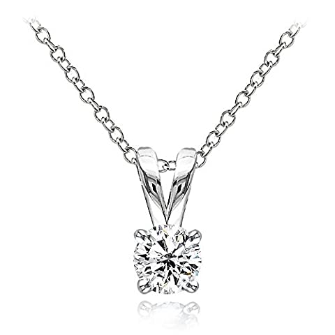 Hoops & Loops Sterling Silver 1/2ct Cubic Zirconia 5mm Round Solitaire Necklace - Cubic Zirconia Pendant Jewelry