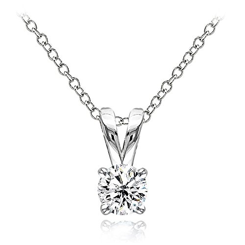 (Hoops & Loops Sterling Silver 1/2ct Cubic Zirconia 5mm Round Solitaire Necklace)