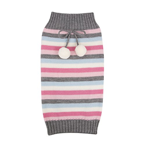 - SimplyWag Pink and Charcoal Multi-Striped Knitted Dog Sweater (Medium)