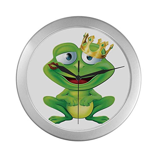 (C COABALLA Animal Decor Simple Silver Color Wall Clock,Cute Frog Prince Cartoon Character with Gold Crown and Lipstick Mark on His Lips Love Print for Home Office,9.65
