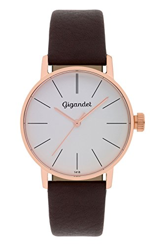 Gigandet Women's Quartz Watch Minimalism Analog Leather Strap Rose Gold Brown G43-004