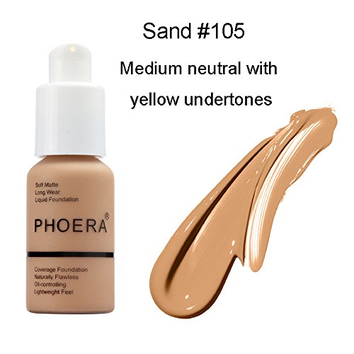 Finishes 105 (30ml Matte Oil Control Concealer Foundation Cream,Long Lasting Waterproof Matte Liquid Foundation (105-Sand))