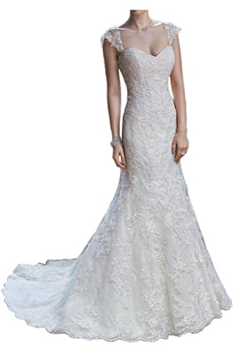 [Avril Dress Sweetheart Sheath/Column Lace Applique Wedding Dress Chapel Train-14-Ivory White] (Column Strap Chapel Train)