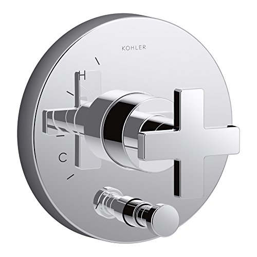 Diverter Valve Trim Cross - KOHLER K-T73117-3-CP Composed Valve Trim with Diverter & Cross Handle For Rite-Temp Pressure Balancing Valve, Not Included, Polished Chrome