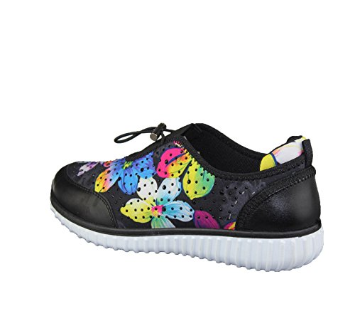 Womens Floral Print Diamante Embellished Shoes Ladies Walking Fashion Trainer Size Black/Floral dlJ9yI