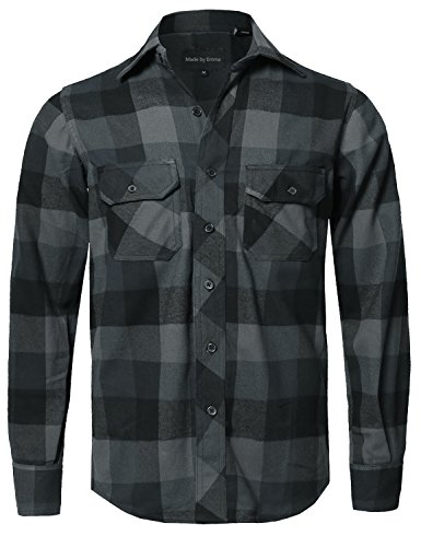 Style by William Casual Plaid Flannel Woven Long Sleeves Button Down Shirt Black M