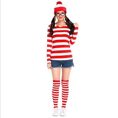 Mitef Christmas Costume, Where's Waldo Funny Striped Sweatshirt with Glasses and Hat for Adult Women, S for $<!--$19.99-->