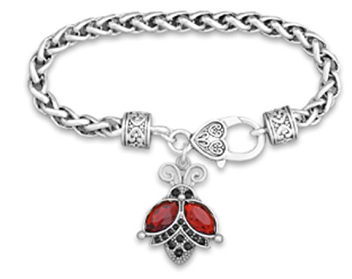 LADY BUG Charm Bracelet is Embellished with Red & Black Crystal Rhinestones.Heart Lobster Claw Closure.Fun Gift for any Atlanta Falcons or Georgia Bulldogs Football Fan.