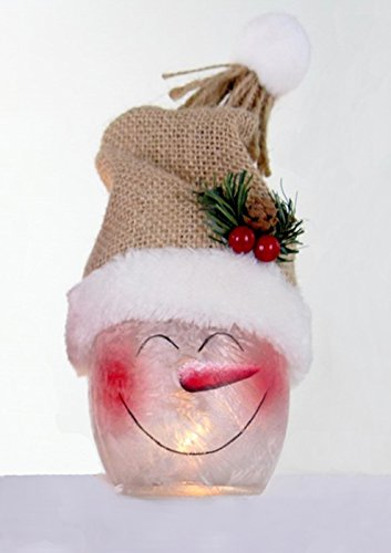 an Lighted Jar with Hat, SSX7252 (Tan Toboggan) (3 Inch Snowman)
