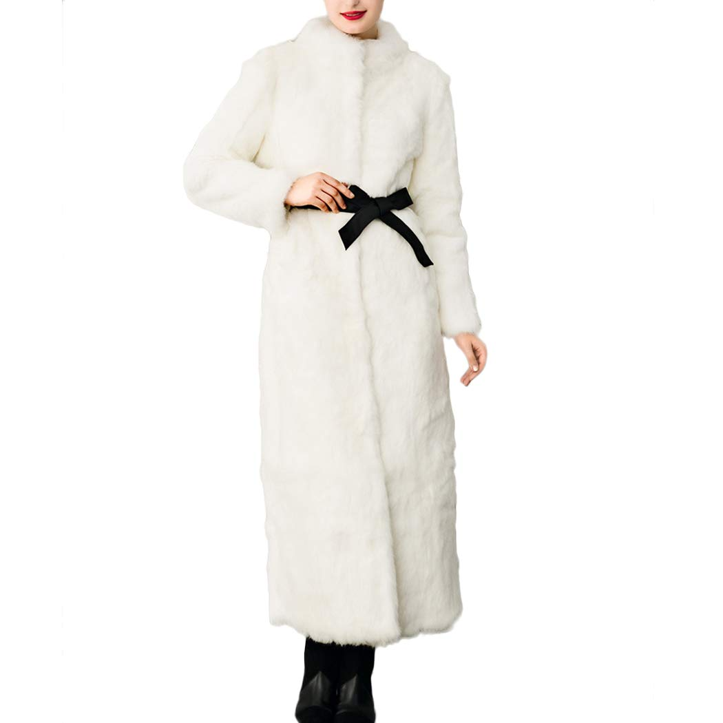 Raylans Women's Elegant Stand Collar Faux Fur Coat Long Warm Fluffy Overcoat Outwear BRT-B4300793