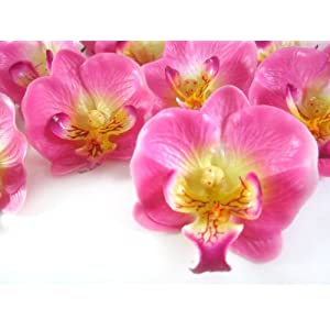 "(50) Small Pink Phalaenopsis Orchid Silk Flower Heads - 2"" - Artificial Flowers Heads Fabric Floral Supplies Wholesale Lot for Wedding Flowers Accessories Make Bridal Hair Clips Headbands Dress 10"