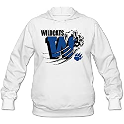 Womens Wildcat Paw And Footprint Hoodie White 100% Cotton