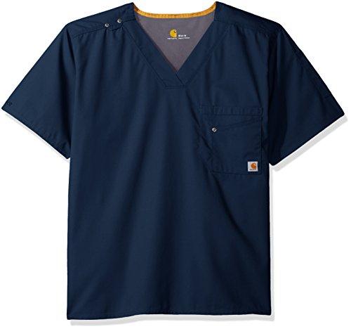 Carhartt Men's Rockwall V-Neck Scrub Top, Navy, Medium