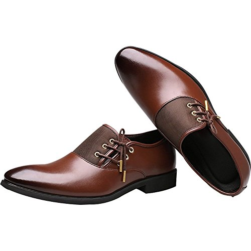 New 2018 Fashion Polyurethane Leather Dress Shoes for Men Formal Spring Pointed Toe Wedding Business Shoes Male with Lace (Men's 8.5 = Women's 9.5 / EU 42, Brown Gold Lace) by Jacky's Oxfords Shoes (Image #5)