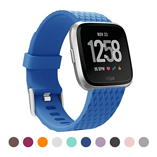 BEPACK Bands Compatible with Fitbit Versa Sport Silicone Replacement Breathable TPU Diamond Texture Strap Bands Fitbit Versa Smart Fitness Watch