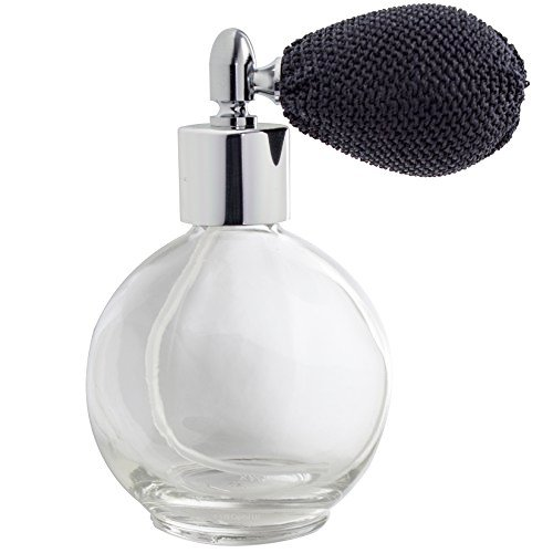 JUVITUS Perfume Empty Refillable Glass Round Bottle with Antique Black Bulb Sprayer 2.65 oz with funnel and pipettes