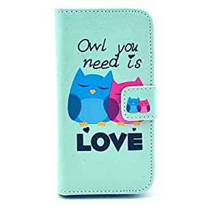 Lovely Cute Owls Pattern PU Leather Case with Card Slot and Stand for Samsung Galaxy S4 mini I9190