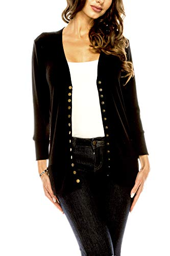 Women's V Neck Cardigan Snap Button 3/4 Sleeve Sweater with Ribbed Detail Collection Plus Size [S-3X] Black Small
