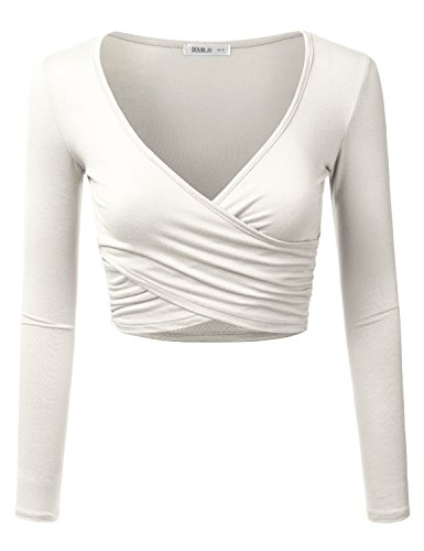 Doublju Deep V-Neck Fitted Surplice Wrap Crop Top for Women with Plus Size Ivory Medium ()
