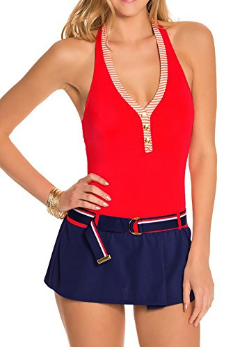 Tommy Hilfiger One Piece Swim Dress Nautical Halter Two Tone Belted Skirted Maillot Navy Red (Belted Maillot)