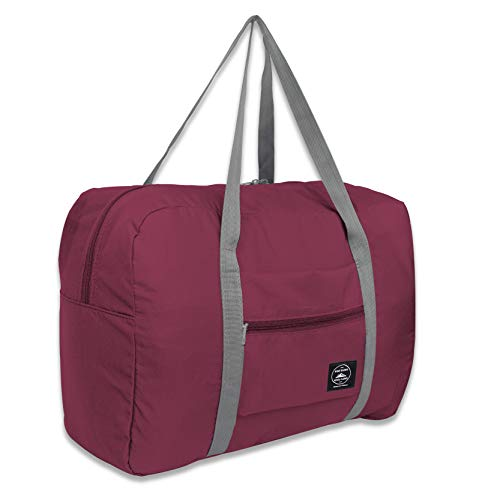 25L Travel Foldable Duffel Bag for Women & Men, Waterproof Lightweight travel Luggage bag for Sports, Gym, Vacation (II-Wine Red) - Foldable Bag