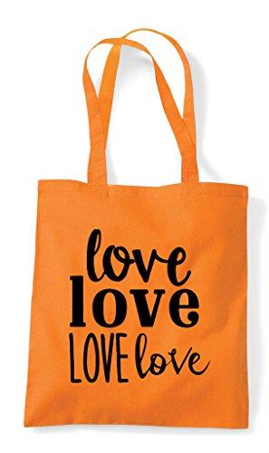 Statement Orange Shopper Tote Bag Love dqx47afd