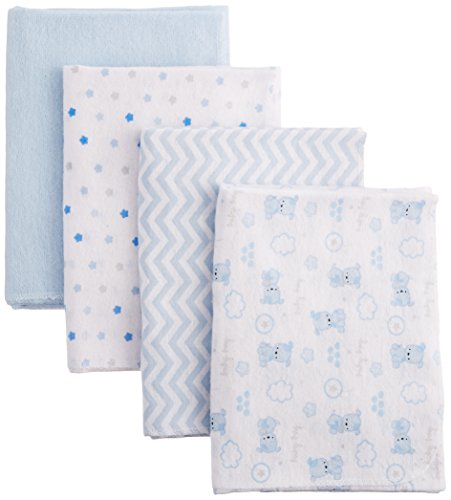 Nuby 100% Cotton 4 Piece Cuddly Soft Baby Receiving Blanket Set, Blue, 28