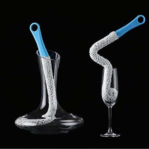 (Bottle Cleaning Brush, Flexible Scourer for Wine Bottle Glass Decanter (blue01))