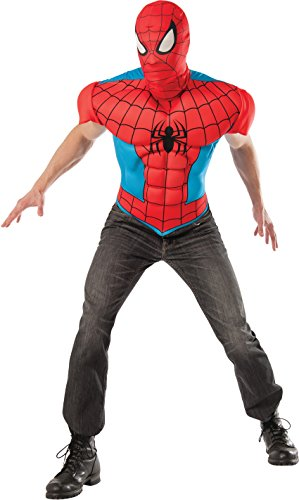 Marvel Rubie's Men's Universe Adult Spider-man Eva Muscle Chest T-shirt and Eye Mask, Multi, Standard