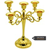 5-Candle Metal Candelabra 10.6 Inch Tall Candle Holder Wedding Event Candelabra Candle Stand (Gold)