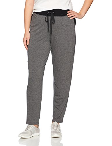 Just My Size Women's Plus Size Active French Terry Pant with Pockets, Granite Heather/Black, 1X