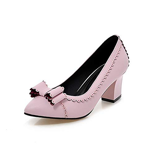 amp; básica ZHZNVX Rosa Negro White Estrecha Punta Bowknot Spring Fall Beige Chunky Tacones Poliuretano Heel Mujer PU Zapatos de Bomba naUxrHYza