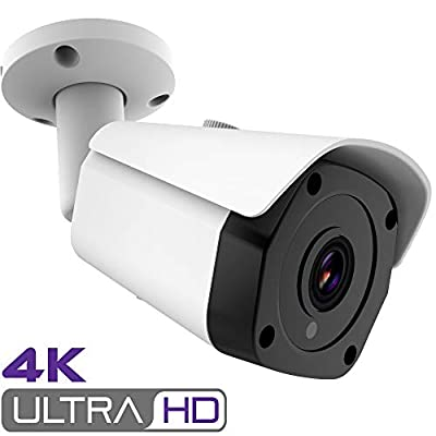 Honic 4K Security Camera, 8MP PoE IP Camera with MicroSD Card Slot, H.265 H.265+ Outdoor Waterproof Surveillance Bullet Camera by honic
