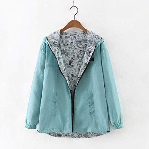Two Female Outwear Zipper Spring Side Cartoon Coat Trench Blue Autumn Print Hooded Women Wear Sky XCXKA Windbreaker Coat Loose qgH0pqnW