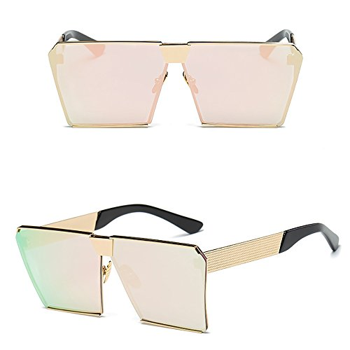 Kaimao Oversized Square Sunglasses Metal Frame UV Protection Unisex Eyewear with Case and Cloth - Gold and Light Pink