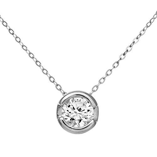 Revoni Bague en or blanc 9carats-Diamant Pendentif avec chaîne 46cm,-Diamant 0.33Cts