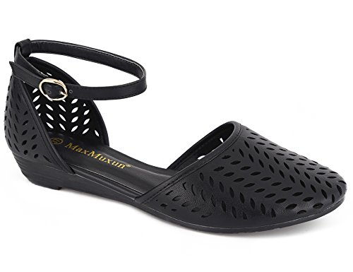 MaxMuxun Womens Roman Ankle Strap Cage Closed Toe Black Flat Sandals Size 10 ()