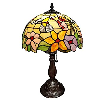 Image of Amora Lighting Tiffany Style Table Lamp Banker 19' Tall Stained Glass Yellow Red Tan Floral Hummingbird Vintage Antique Light Décor Living Room Bedroom Office Handmade Gift AM1112TL12B, Multicolor Home and Kitchen