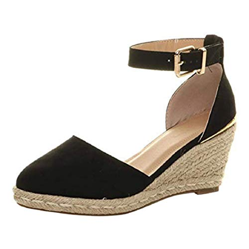Women Fashion Closed Toe Wedge Platform Straw Sandals Ankle Strap Espadrille Strappy Heeled Sandals by Lowprofile Black
